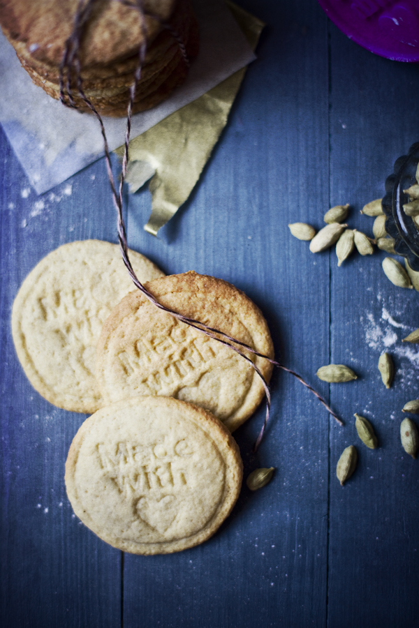 cardamom biscuits hand stamped
