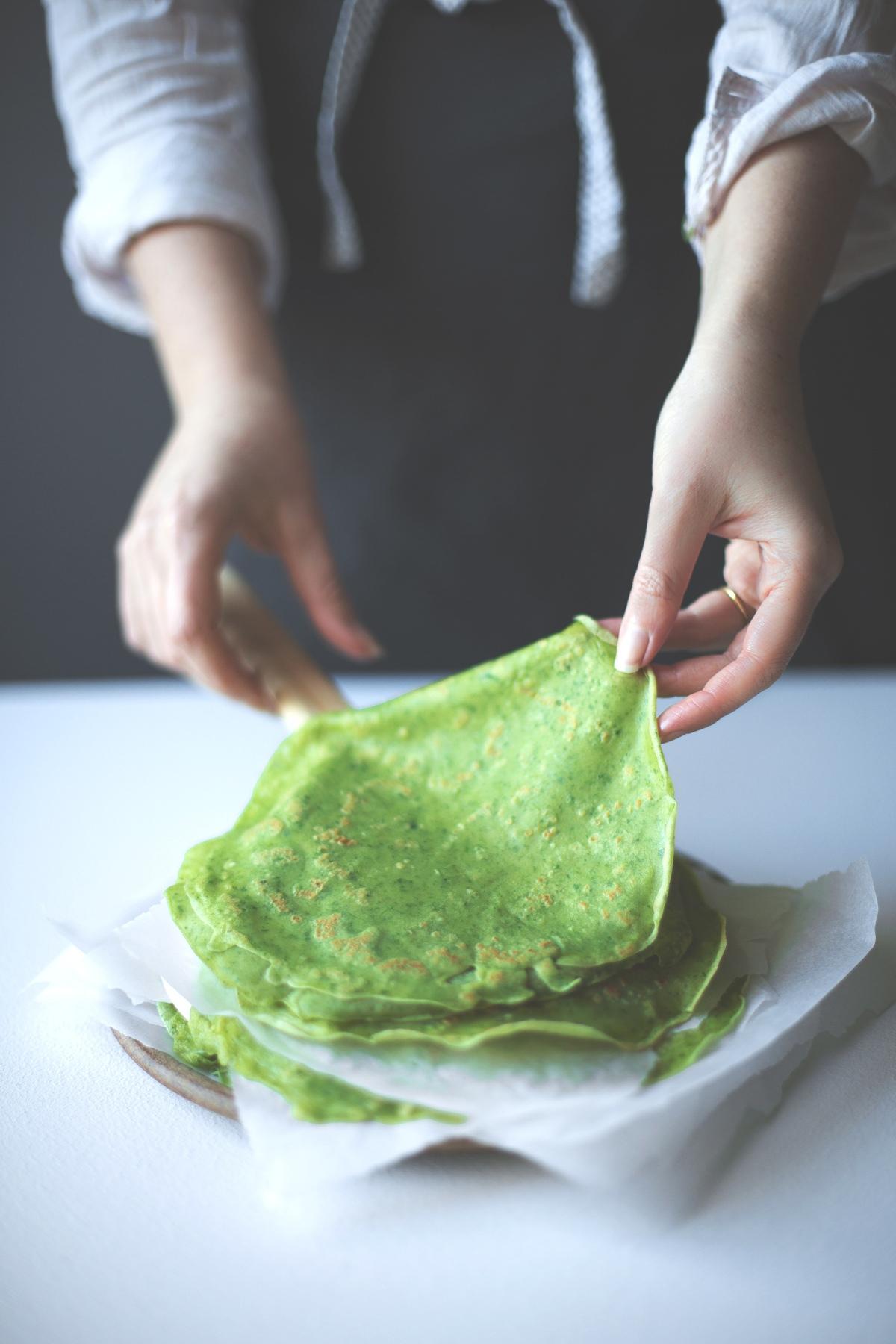 green spinach pancake crepe anna pettigrew